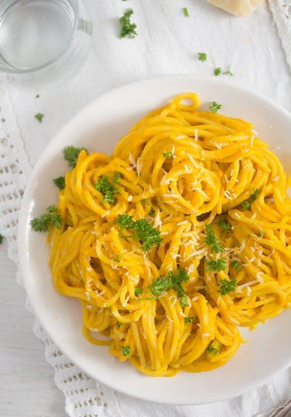 pumpkin sauce for pasta 7 Creamy Pumpkin Pasta Sauce with Parmesan and Parsley