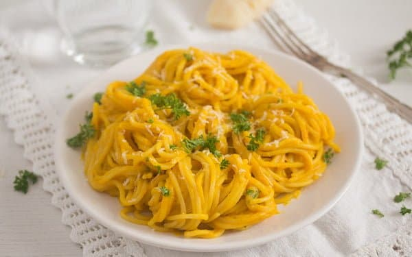 plate of spaghetti with pumpkin sauce