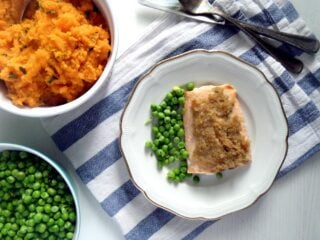 chili lime salmon with sweet potato mash on a plate