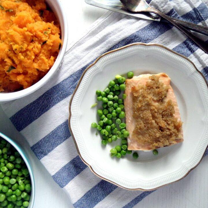 chili lime salmon with sweet potato mash on a plate