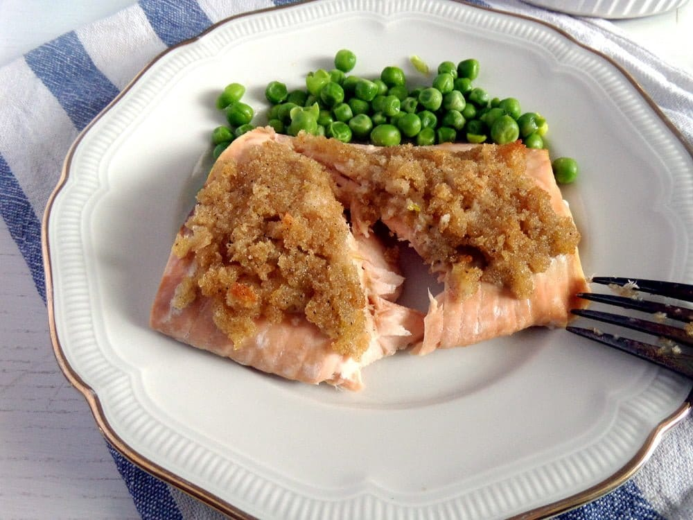salmon with lime peas Salmon with Lime Crust and Mashed Sweet Potatoes