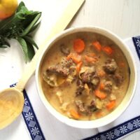 beef stew with apples in a bowl with a wooden spoon