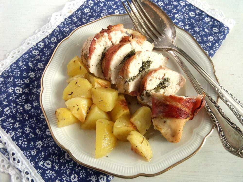 chicken rolls potatoes Bacon Wrapped Chicken Breasts Herb Lime Filling