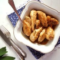 bowl with italian chicken with lemon