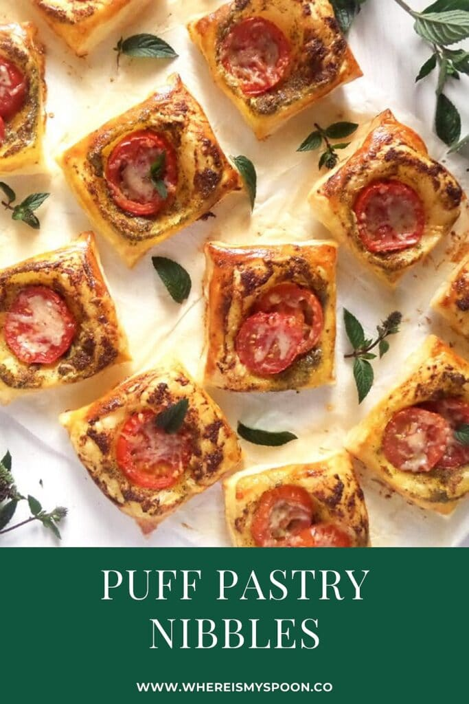 pastry bites with tomatoes and cheese