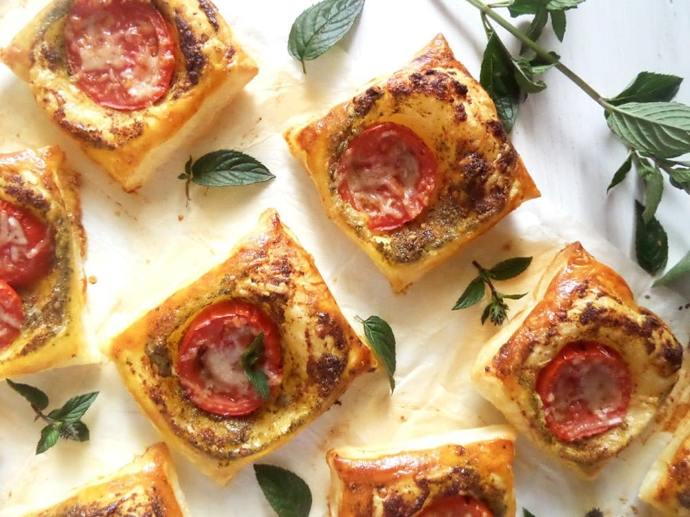 puff pastry pesto bites Green Onion and Cheese Quiche with Peppers and Dill