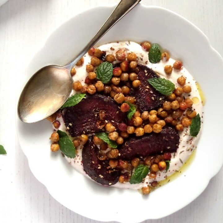 roast beetroot salad with crispy chickpeas on a plate