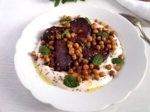 roasted beetroot harissa 300x225 Roasted Beetroot with Crisp Chickpeas on Greek Yogurt