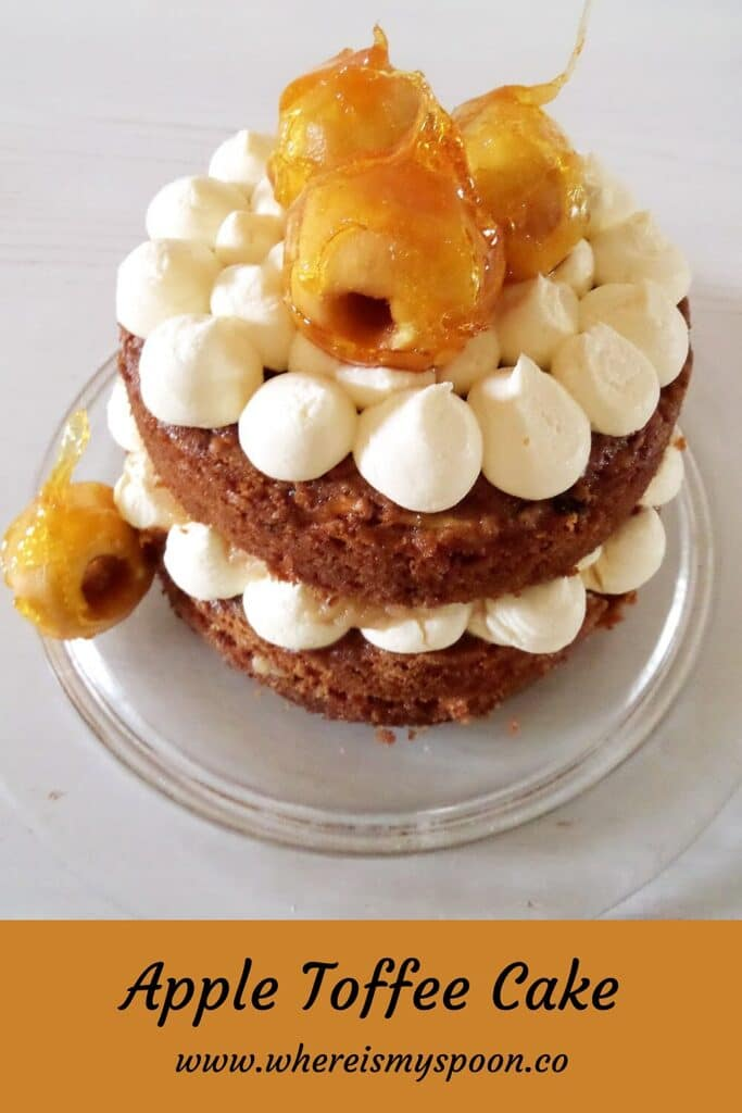 caramelized apple cake decorated with white chocolate cream cheese filling