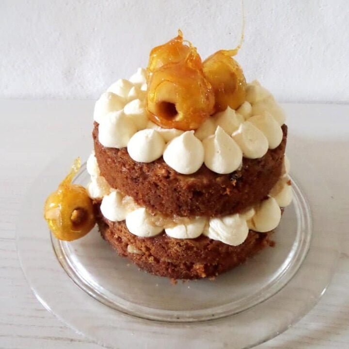 apple toffee cake on a cake platter