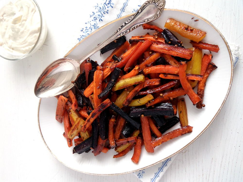 carrots glazed tahini Spicy Roasted Pumpkin Wedges   Simple and Delicious