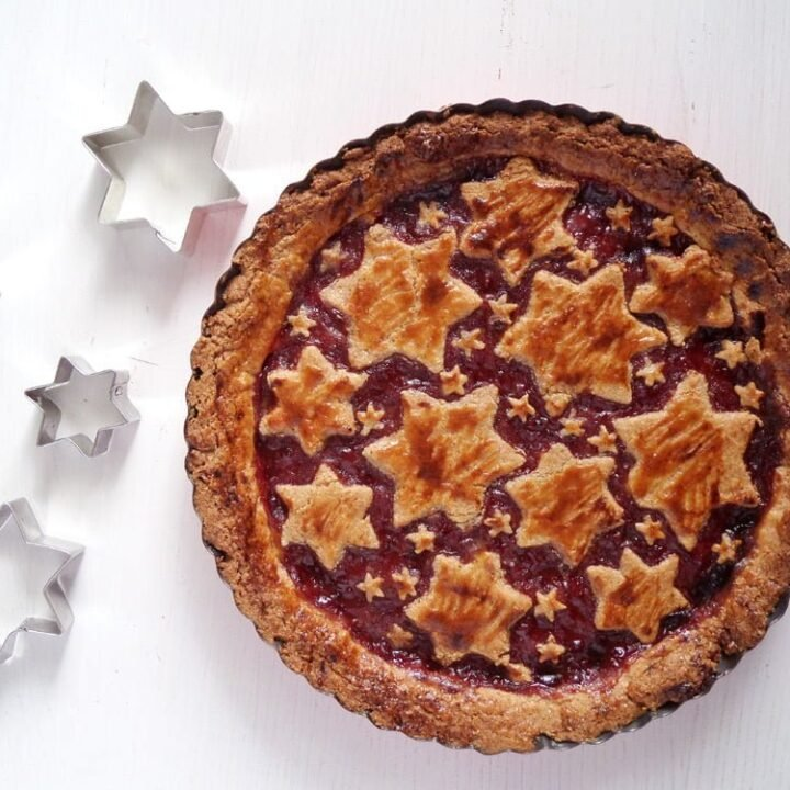 austrian torte with redcurrant jam and pastry stars on top