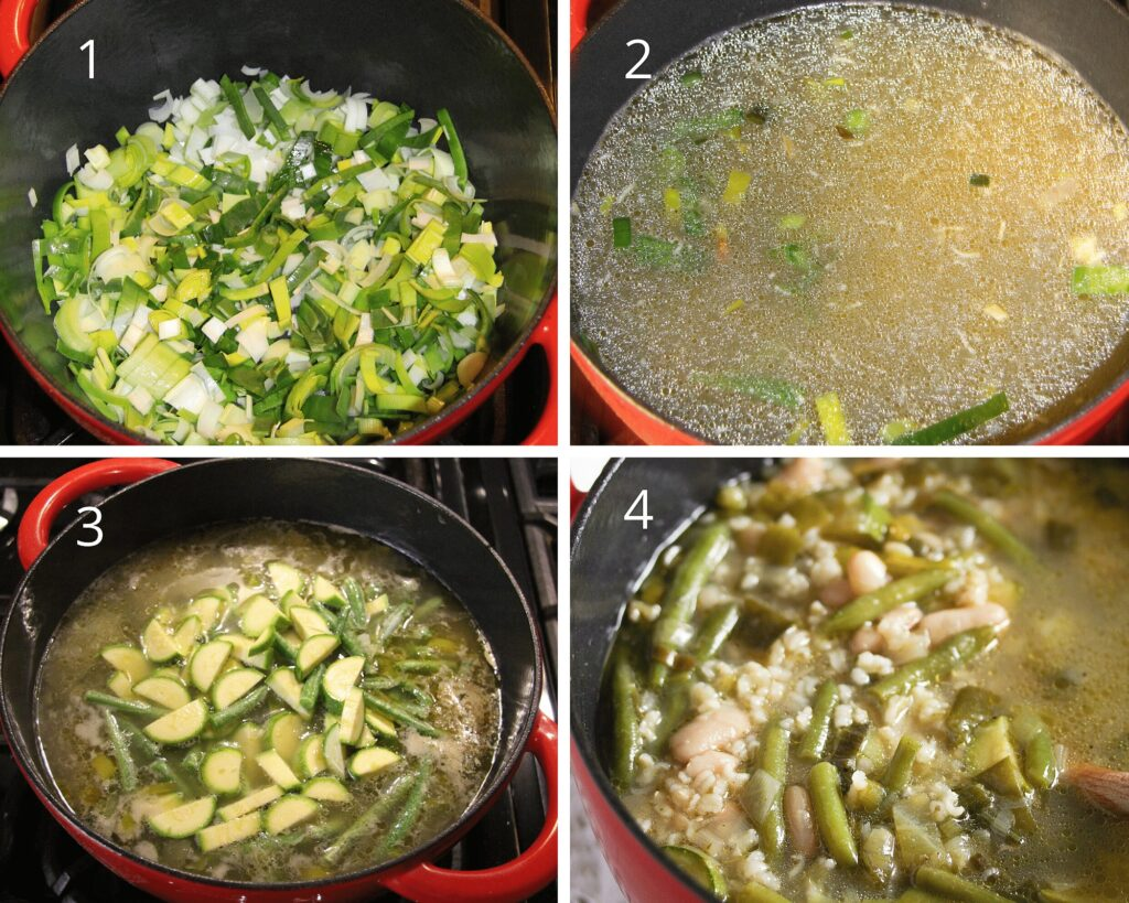sauteing leeks in a pan, adding zucchini, stock and beans