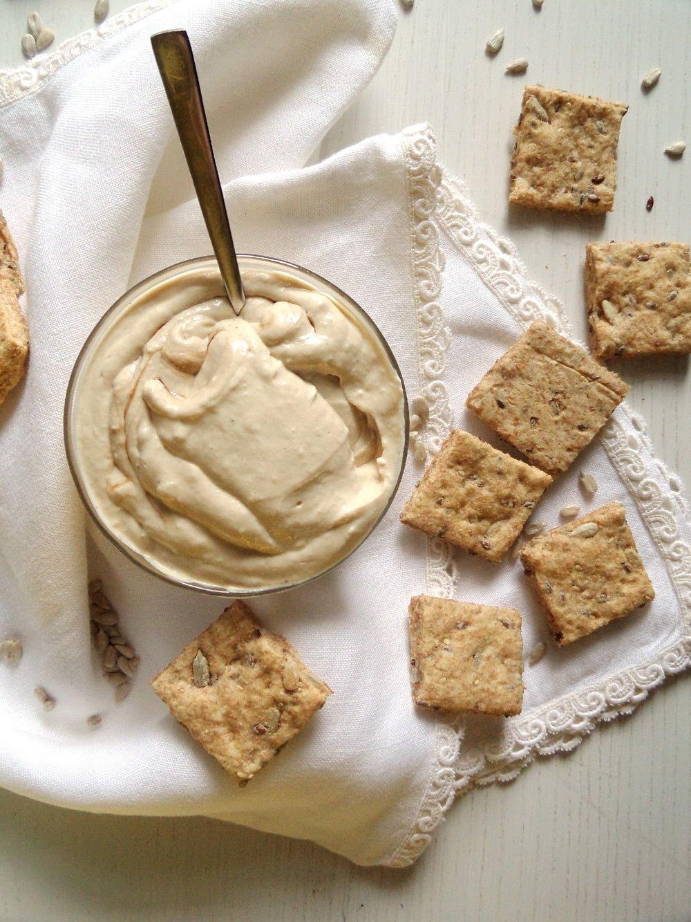 tofu spread crackers Silken Tofu Tahini Spread with Wholegrain Spelt Crackers