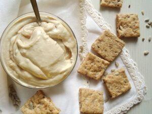 tofu spread dip 300x225 Silken Tofu Tahini Spread with Wholegrain Spelt Crackers