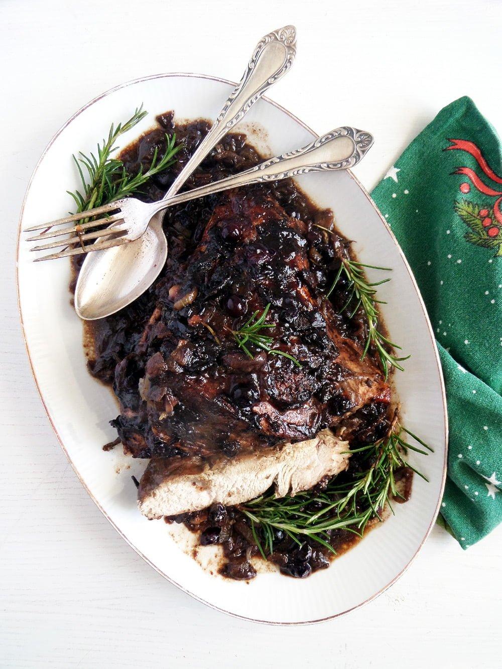 turkey blueberries sauce Tender Pork Tenderloin with a Herb Breadcrumb Crust