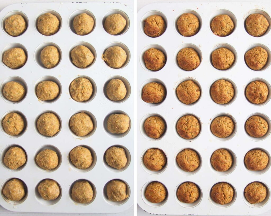 collage of two pictures of veggie balls in a mini muffin tray before and after baking.