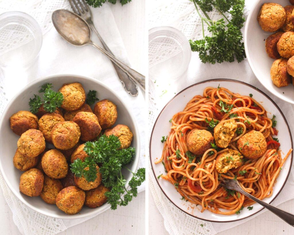collage of two pictures of chickpea vegetable balls in a bowl and then served over spaghetti with sauce.
