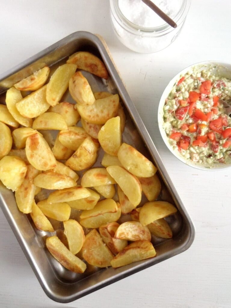 golden roast potatoes 768x1024 Golden Roasted Potatoes with Avocado Cottage Cheese Dip