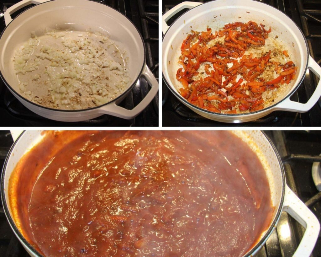 collage of three pictures of making red pepper tomato sauce in a white dutch oven.