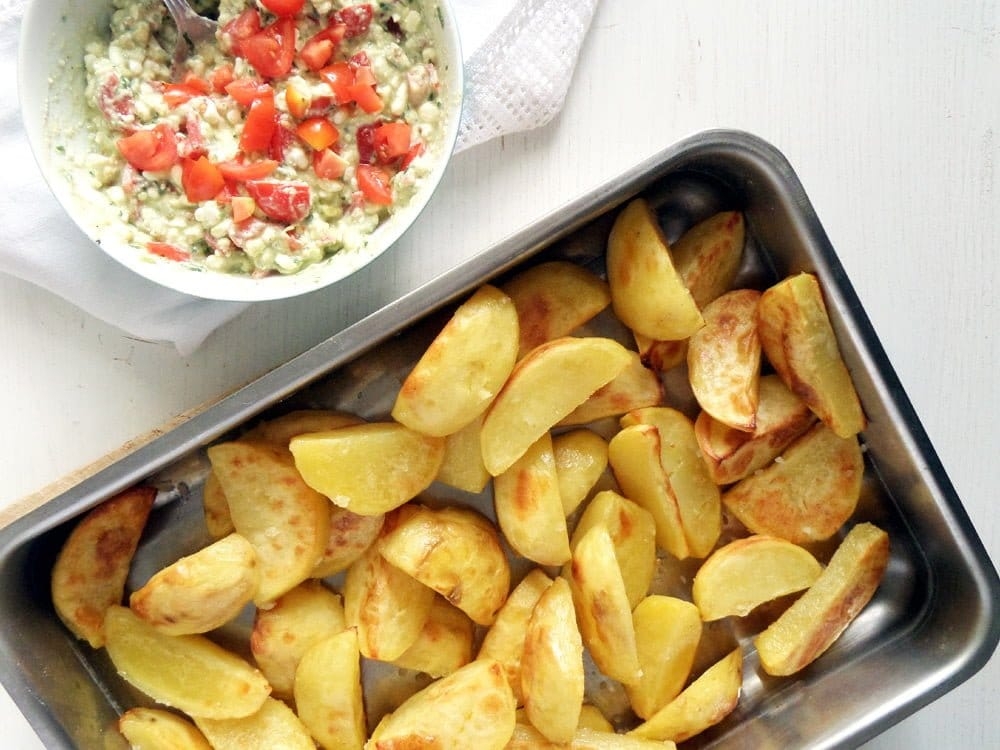 roasted potatoes dip Baked Sweet Potatoes with Camembert and Green Onions