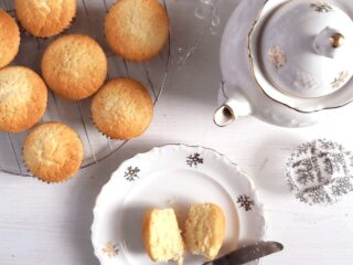 sour cream muffins and a vintage pot of tea