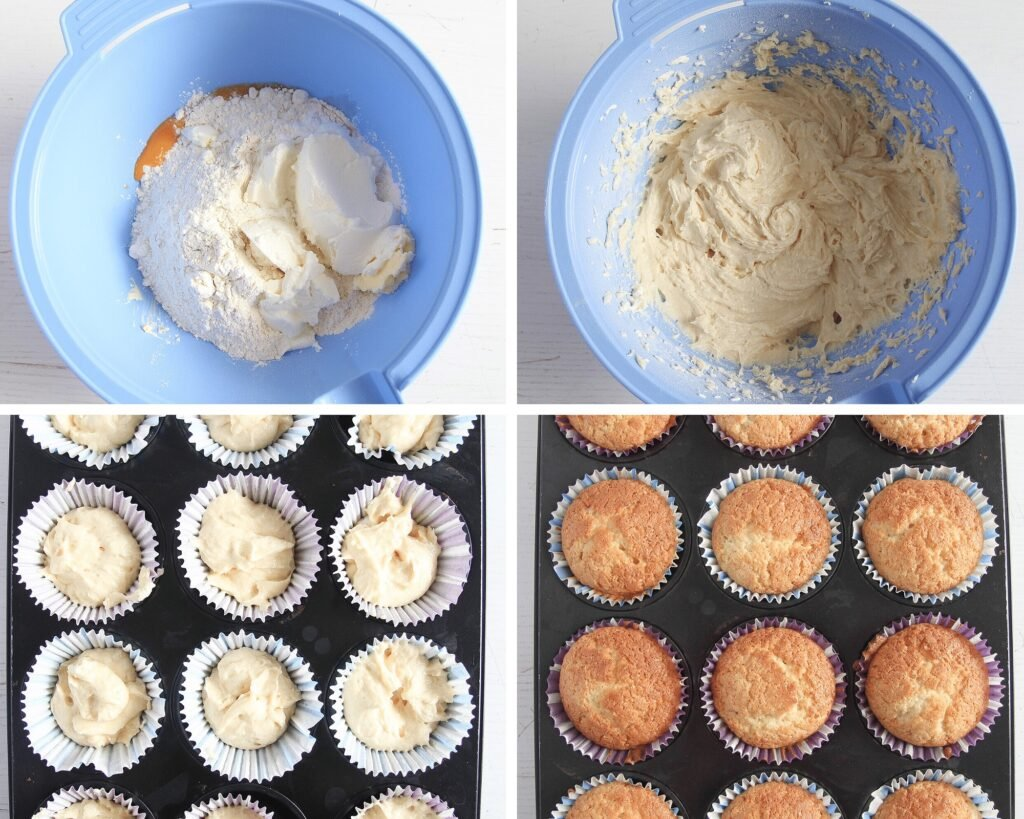 batter for muffins, unbaked and baked