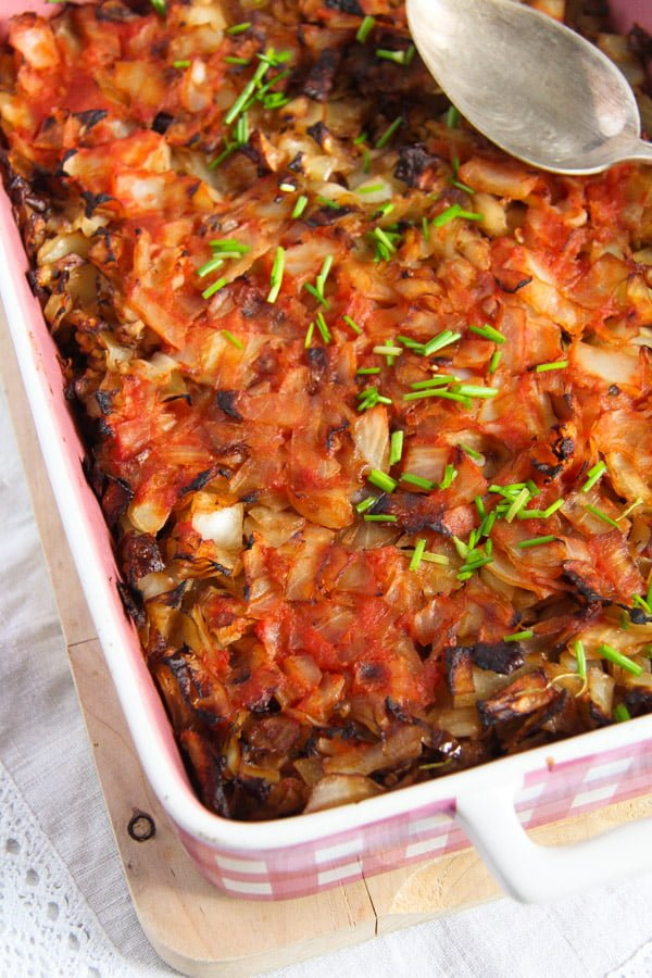 stuffed cabbage casserole 1 Stuffed Cabbage Casserole with Bacon and Ground Pork