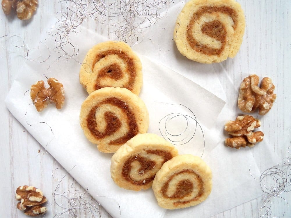 walnut rolls cookies Orange and Jam Swirl Butter Cookies