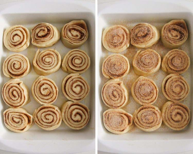 sweet rolls with cinnamon before and after rising
