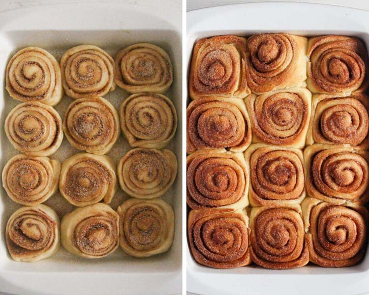 sweet rolls with cinnamon before and after baking