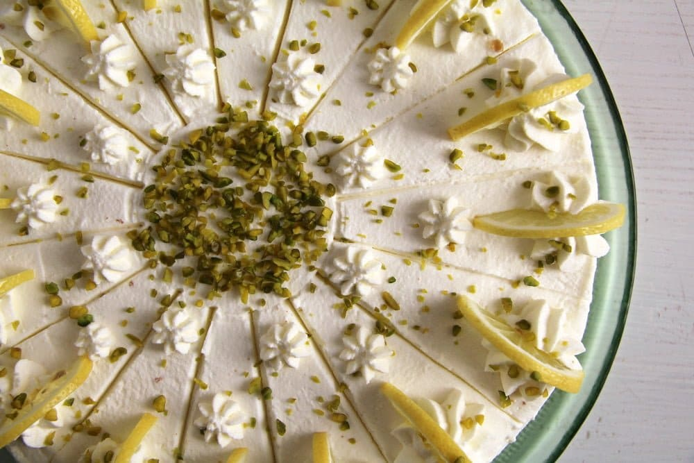 german torte with buttermilk lemon filling overhead view