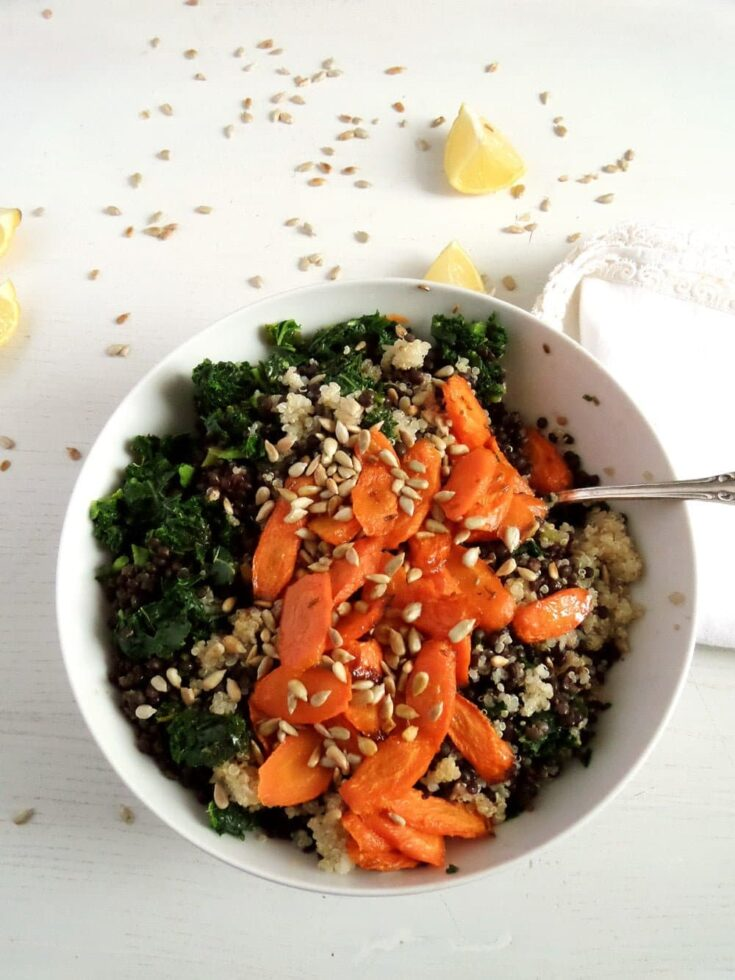, Vegan Lentil Quinoa Bowl with Kale, Carrots and Sunflower Seeds