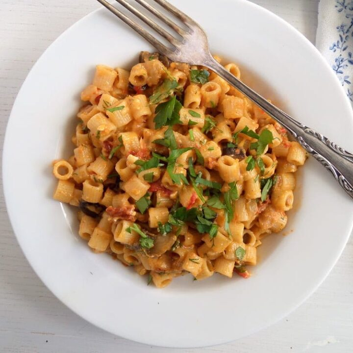 aubergine pasta with tomatoes and cheese on a white plate