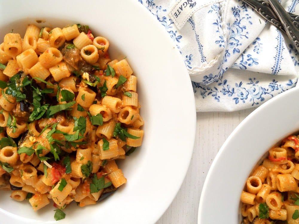 pasta veggies eggplant Spaghetti with Zucchini and Creamy Goat Cheese Sauce