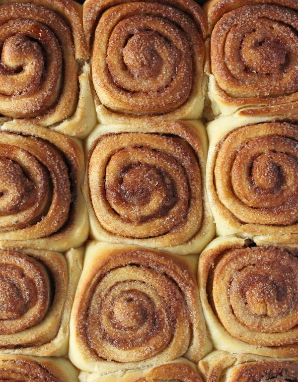 freshly baked sweet rolls with cinnamon