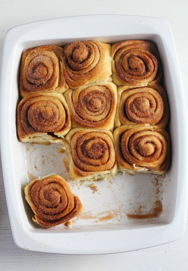 baking dish with sweet rolls with cinnamon