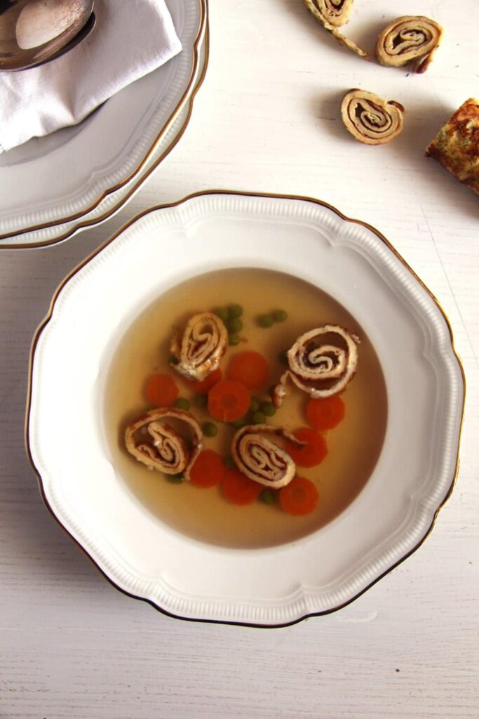 beef broth light 683x1024 How to Make Basic Beef Broth and Beef Soup with Dill Pancakes
