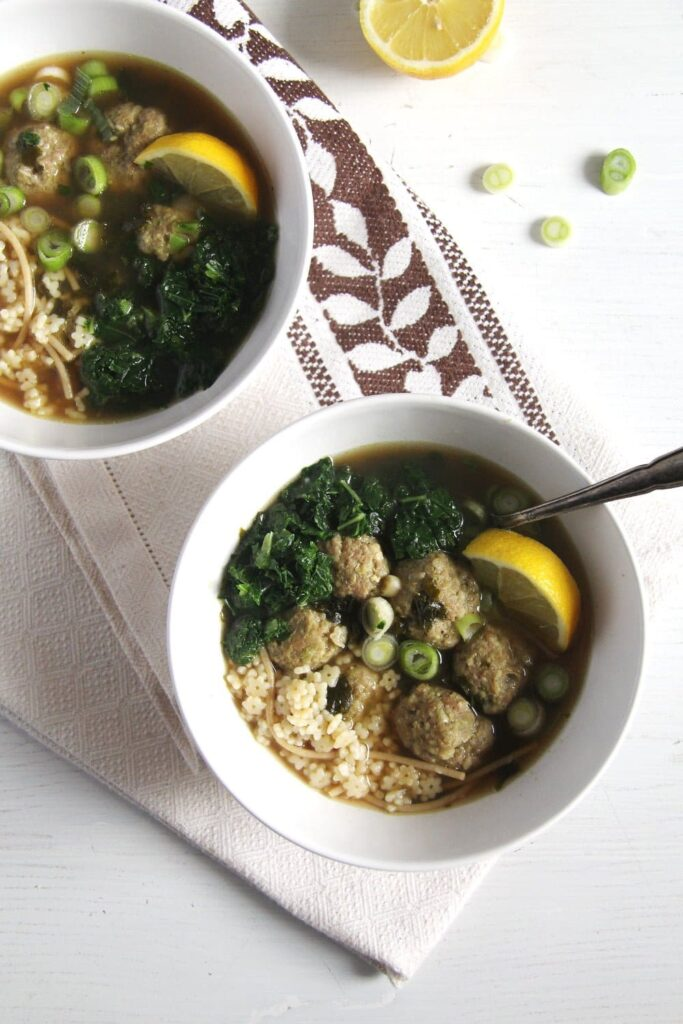 bone broth turkey kale 683x1024 How to Make Bone Broth and Turkey Pesto Meatball Soup