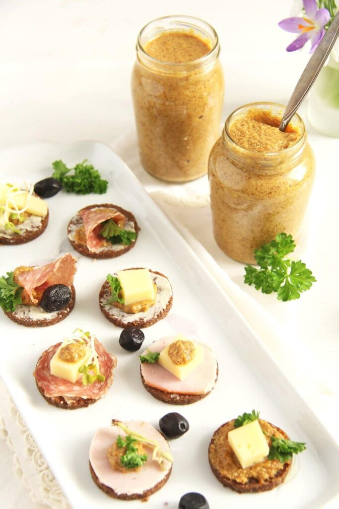 mustard homemade canapes 683x1024 Homemade Orange Mustard with Coriander and Apple Vinegar