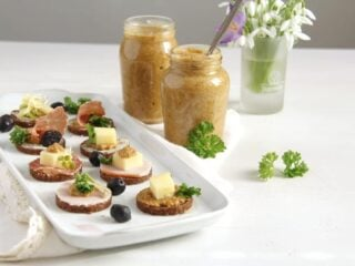 two jars with homemade mustard