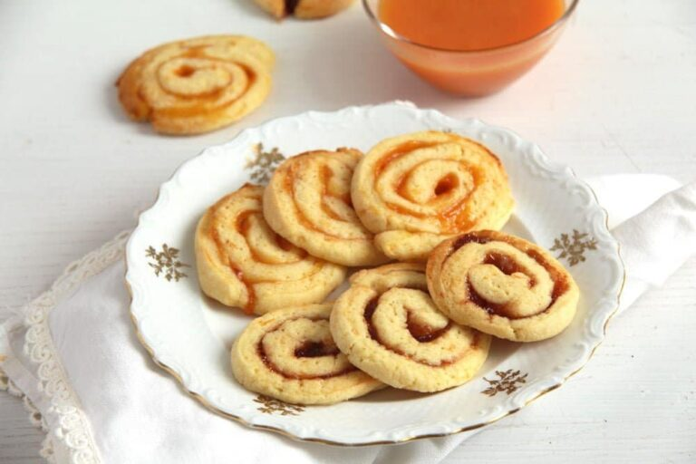 orange jam swirls 768x512 Orange and Jam Swirl Butter Cookies