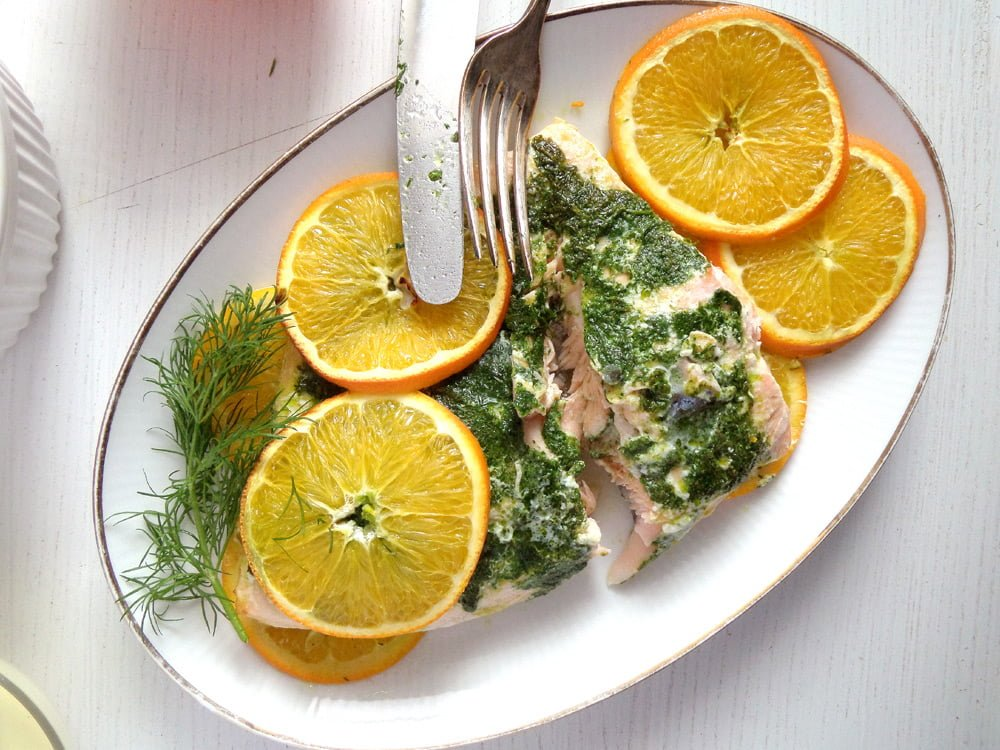 orange salmon dill Orange Mustard Salmon with Dill and Orange Rice