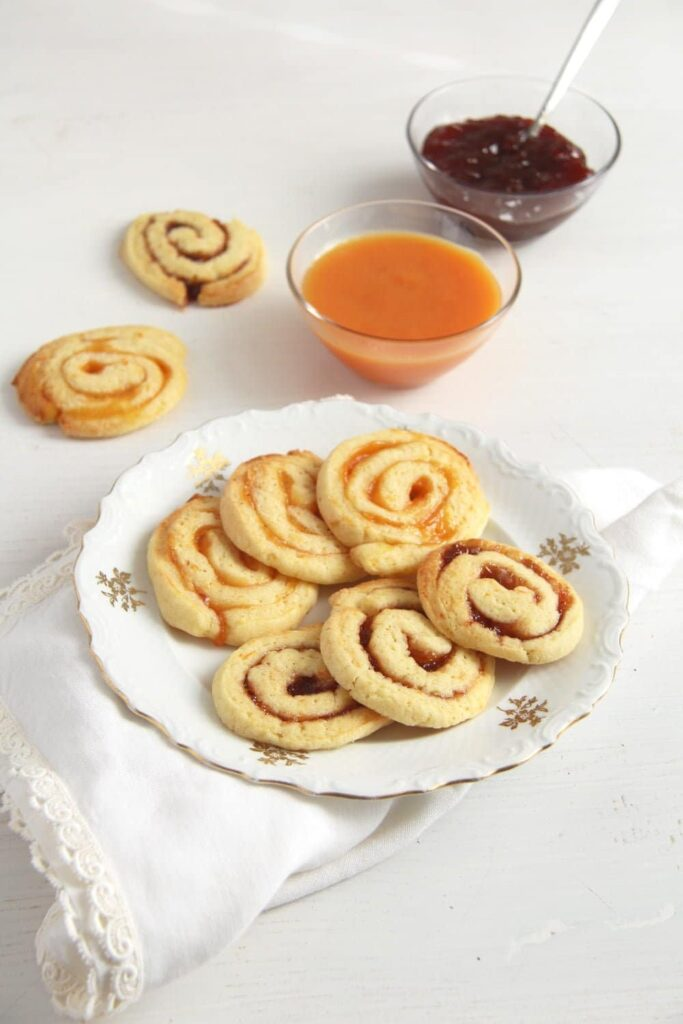 orange swirls orange jam 683x1024 Orange and Jam Swirl Butter Cookies