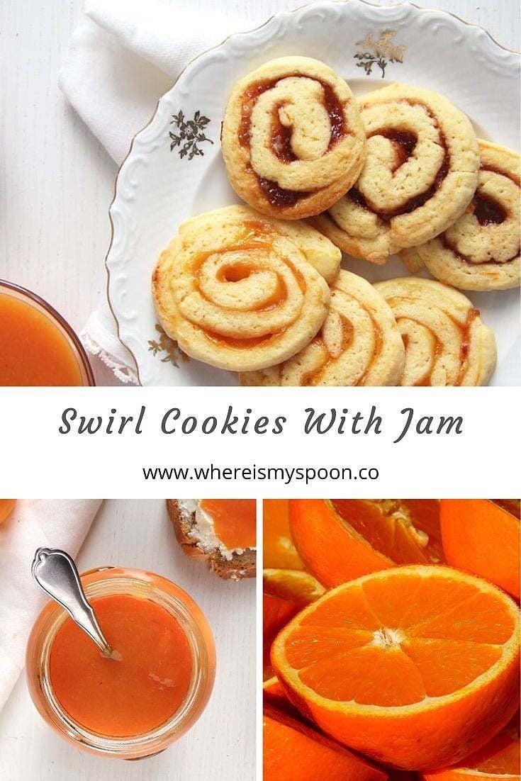 Easy swirl cookie recipe with jam. You can change the flavor every time by choosing another jam. #whereismyspoon #cookies #swirlcookies #christmascookies #jamcookies #orangecookies