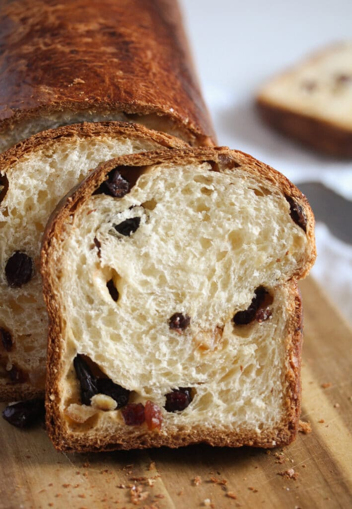 close up of romanian bread with dried fruit