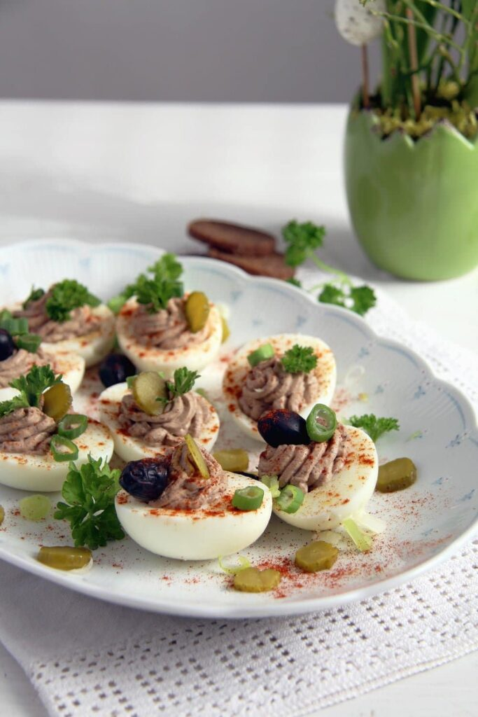 deviled eggs gherkins 683x1024 Deviled Eggs with Homemade Liver and Creme Fraiche Pate