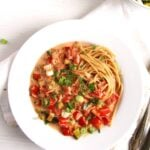 whole wheat spaghetti with creamy vegetables