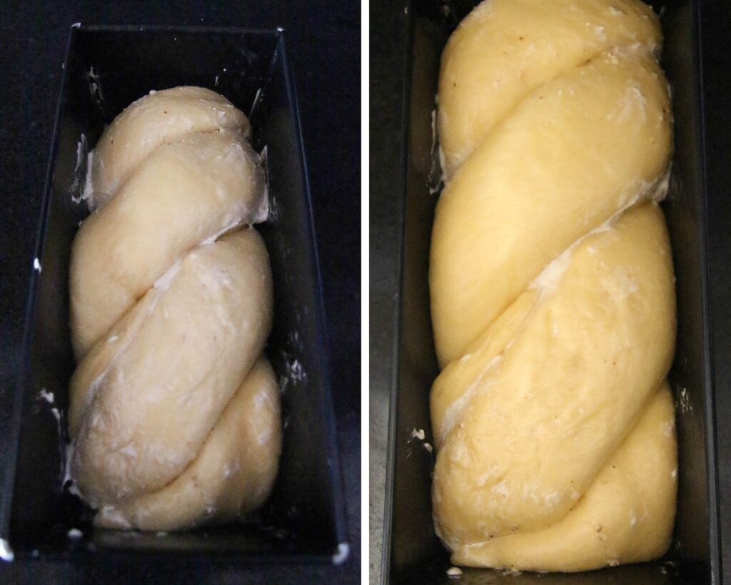 yeast dough in a loaf pan before and after rising