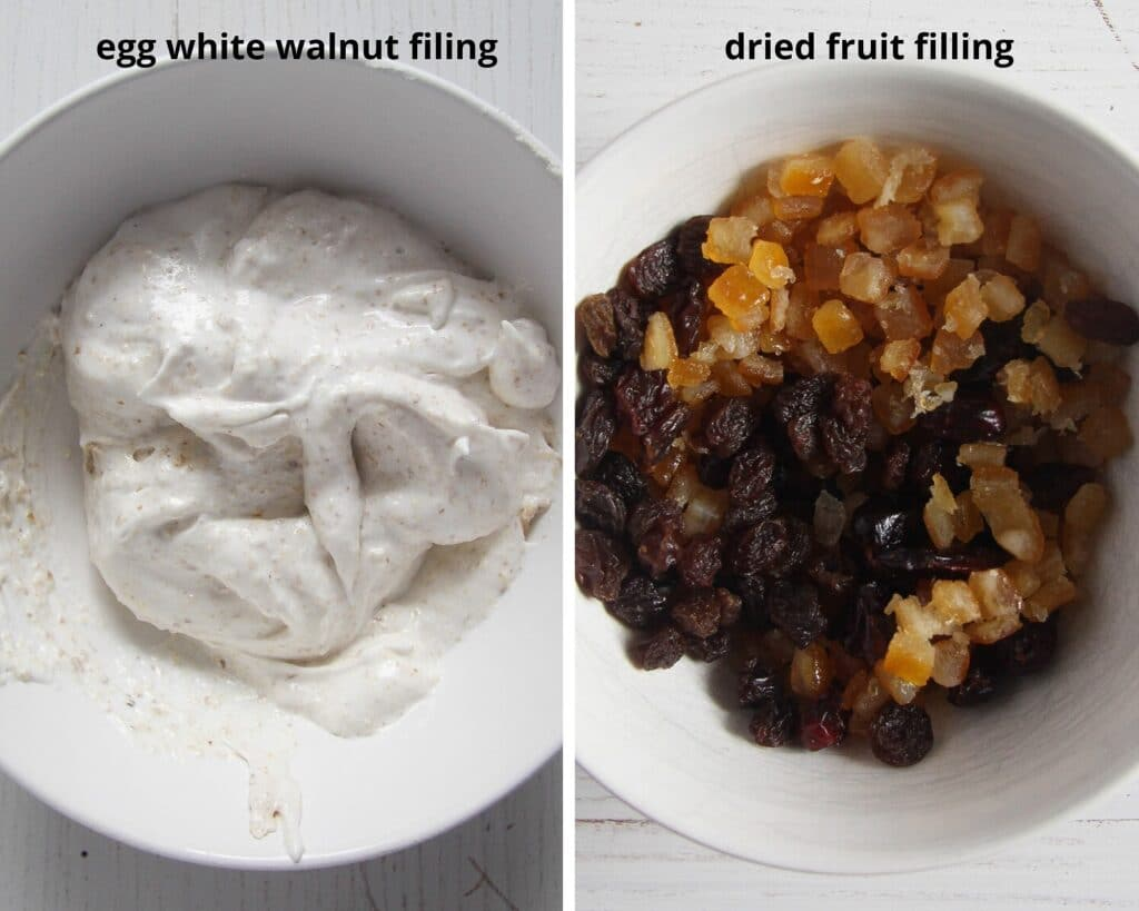 egg white walnut filling and dried fruit filling for cozonac